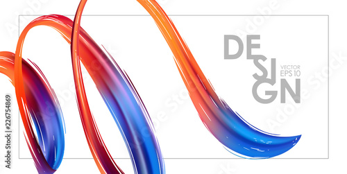 Fotografía  Banner template with 3d colorful abstract brush stroke acrylic paint shape