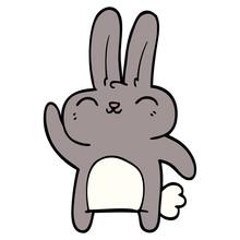 Cartoon Doodle Happy Rabbit