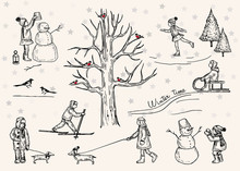 Vector Illustration. Winter Pen Style Set. Children Outdoors. Winter Tree With Bullfinches. Snowman. Skates, Sled, Ski. Vacation Time.