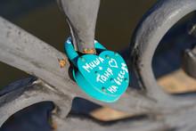 "Door Padlock On The Bridge, Closed On The Wedding Day. The Inscription ""Misha   Tanya, Forever"""