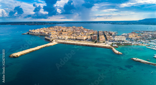 Aerial. Ortigia a small island which is the historical centre of the city of Syracuse, Sicily. Italy.