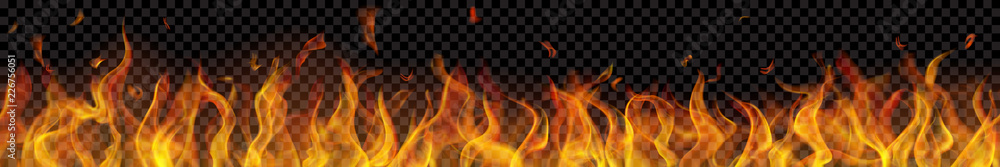 Fototapety, obrazy: Translucent long fire flame with horizontal seamless repeat on transparent background. For used on dark backgrounds. Transparency only in vector format