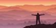 Un homme alpiniste, contemple le soleil qui se lève à l'horizon d'une chaine de montagne.
