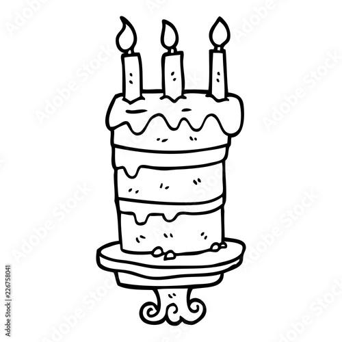 Marvelous Line Drawing Cartoon Birthday Cake Buy This Stock Vector And Personalised Birthday Cards Vishlily Jamesorg