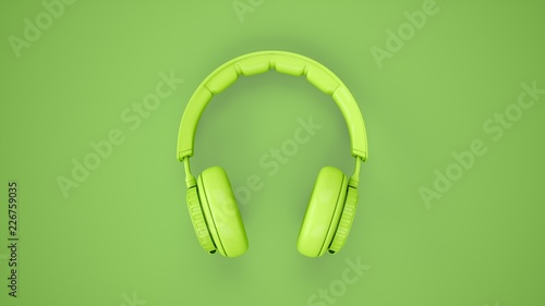 Fotografia  3D Rendering Green headphones isolated on green background