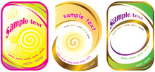 Set Of Three Labels With Spiral.