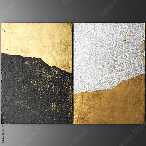 Fotomural  3D wall art, paintings with gold leaf
