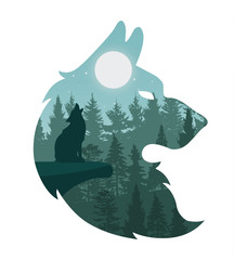 Vector Illustration of Nature landscape with wolf howling at moon