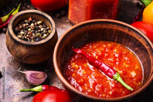 Fotobehang Kruiderij Spicy seasoning, adjika sauce