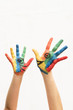 hands with colorful paint talking