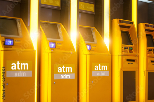 Obraz na plátne Atm automachines for cash and Adm automatic cash deposit money, all for financial transaction