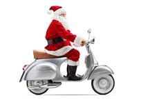 Santa Claus Riding A Retro Scooter