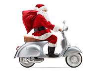 Santa Claus With A Sack Riding...