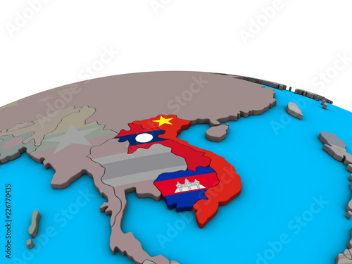 Foto  Indochina with embedded national flags on political 3D globe.