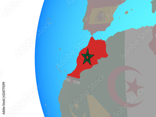 Spoed Foto op Canvas Aquarel Gezicht Morocco with embedded national flag on blue political globe.
