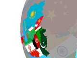 ECO member states with embedded national flags on blue political globe.