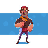 Cartoon pirate with a knife.Vector illustration, eps 10.
