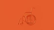 Orange Hospital Wheelchair 3d Illustration 3d Rendering