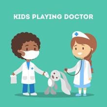 Cute Kid In Doctor Uniform Tre...