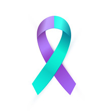 3d Purple Blue Ribbon For Suic...