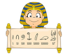 Kid Boy Egyptian Numeral System Illustration