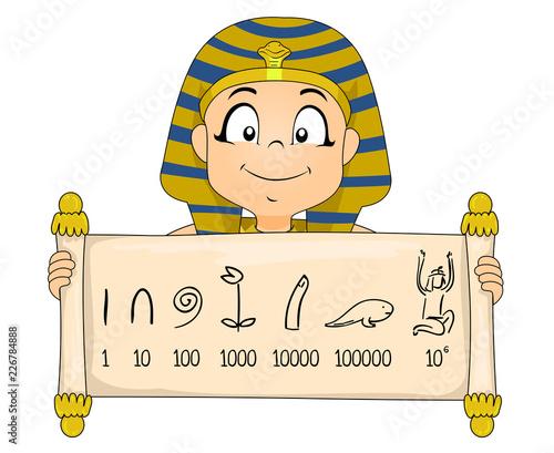 Obraz na płótnie Kid Boy Egyptian Numeral System Illustration