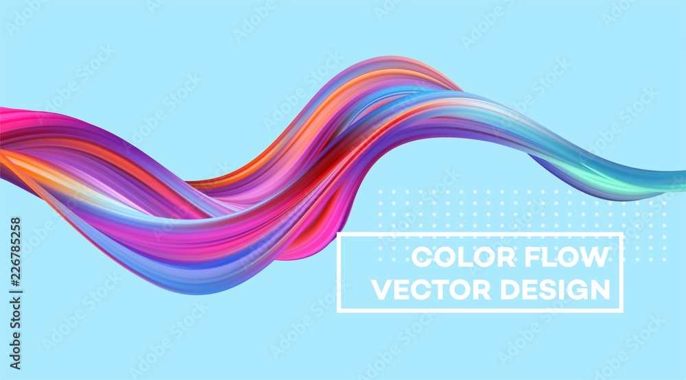 Fototapeta Modern colorful flow poster. Wave Liquid shape in color background. Art design for your design project. Vector illustration