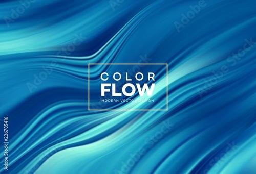 Obraz Modern colorful flow poster. Wave Liquid shape in color background. Art design for your design project. Vector illustration - fototapety do salonu