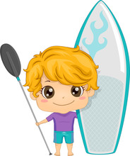 Kid Boy Paddleboarding Illustr...