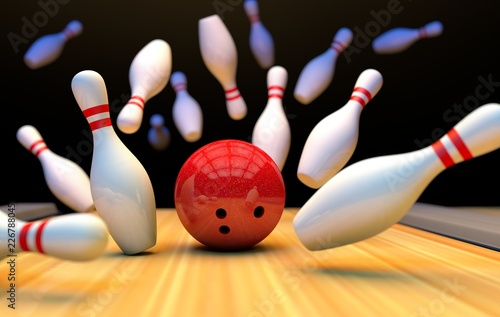 Kręgle tło z kręgle i piłka