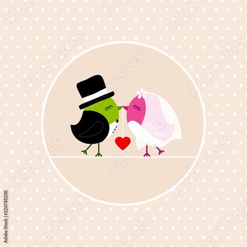 Fotografie, Obraz  Wedding Birds Holding Heart Dots Background Beige