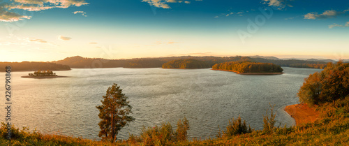 Beautiful panorama of Lake Solina at sunrise. Bieszczady, Poland. Canvas Print