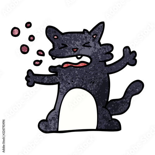Photo  cartoon doodle hiccuping cat