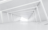 Fototapeta Do przedpokoju - Illuminated corridor interior design. 3D rendering.