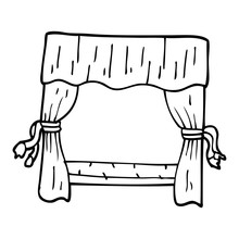 Line Drawing Cartoon Window With Curtains