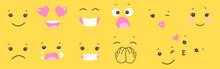 Set Of Smiley Face Emoji On Ye...