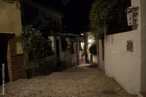 Alleyway in the Moorish Quarter Albayzin at Night, Granada, Spain