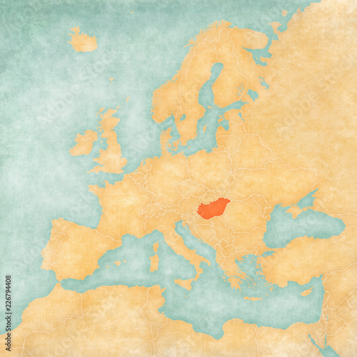 Map of Europe - Hungary Canvas Print