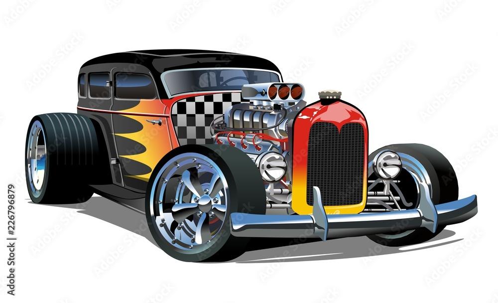 Fototapeta Cartoon retro hot rod isolated on white background
