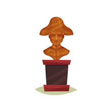 Bronze Bust Of Man In Hat. Statue Of Famous Person. Exhibit Of Historical Museum. Flat Vector Design