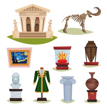 Flat Vector Set Of Museum Exhibits. Mammoth Skeleton, Ceramic Vases, Clothes, Golden Crown, Famous Painting And Column