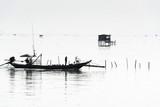 Tradycyjne drewniane budy rybacy w zatoce Tajlandia, Tajlandia - 226802624