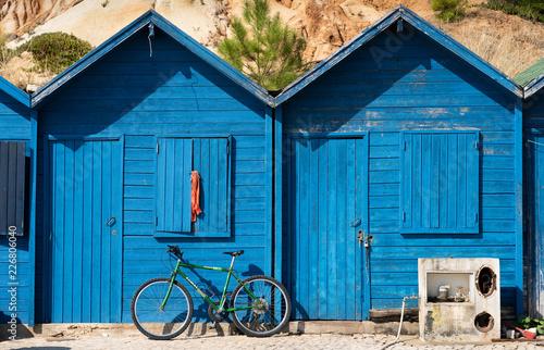 Aluminium Prints Bicycle fishermen's beach huts algarve portugal
