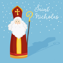 Cute Greeting Card With Saint Nicholas With Mitre, Pastoral Staff And Falling Snow. European Winter Tradition. Hand-lettered Text. Flat Design, Vector Illustration.