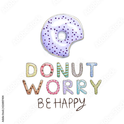 Donut Worry Be Happy Funny Card with donut font and tasty lilac donut Wallpaper Mural