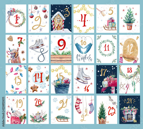 Christmas advent calendar with watercolor illustration.  Set of cute christmas cards.