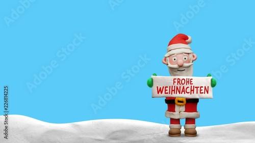 Animation Frohe Weihnachten.Video Zu Weihnachtsmann Aus Knete Mit Schild Frohe Weihnachten Im