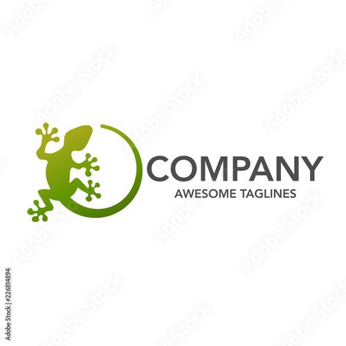 Naklejka premium Jaszczurka wektor ilustracja logo szablon ikona designu, kreatywny wektor logo gekona