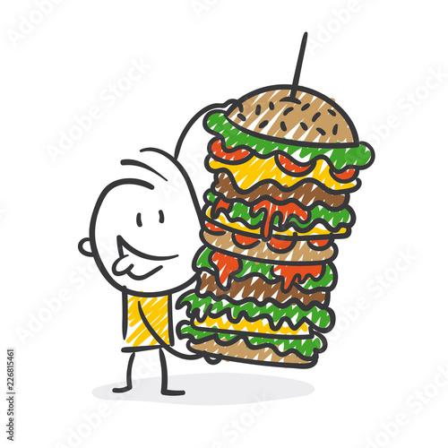 Fototapeta Strichfiguren / Strichmännchen: Fast Food, Essen, Hamburger. (Nr. 319) obraz