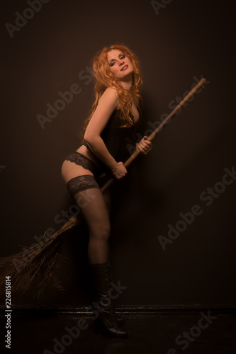 Fotografie, Tablou witch on a broom, halloween